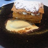 Rhubarb mille-feuille (sorry for the ice cream puddle!)