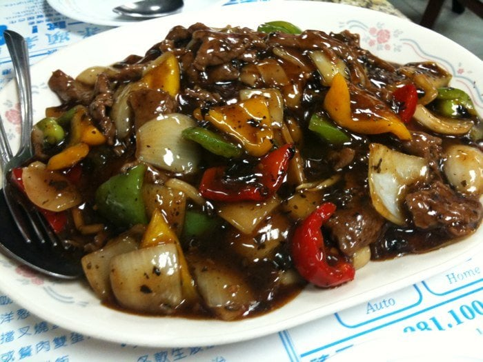"... Absolutely delicious beef ""hor fun"" with black bean sauce and p..."