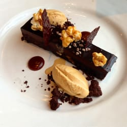 Brownie with popcorn and salted caramel…