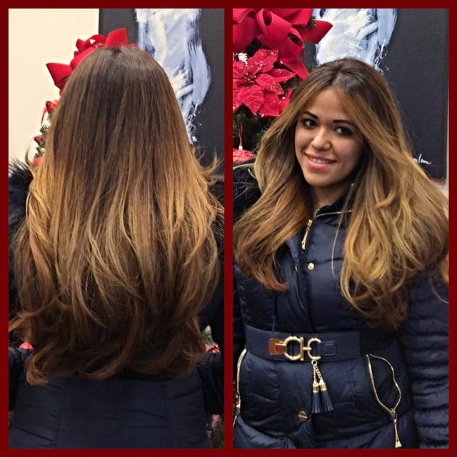 Natural blonde ombre balayage highlights on a warm brown for A la mode salon brooklyn