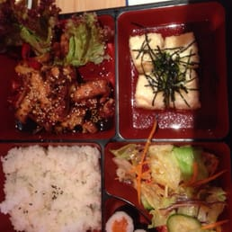 Spicy teriyaki bento inc tidy vege rice and soup miso