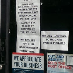 United States Post Office - New York, NY, États-Unis. Current sign since Monday 9/15/14