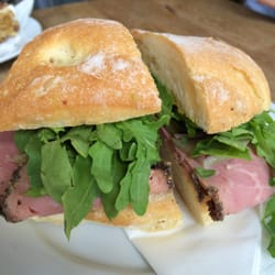 Pastrami, gherkin and rocket ciabatta.…
