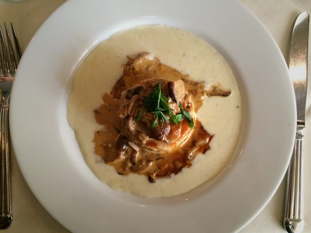 ... polenta tower with roasted forest mushrooms and creamy gorgonzola