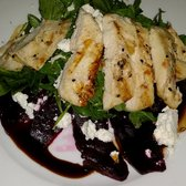 ... NY, United States. Beet, arugula, and feta salad with grilled chicken