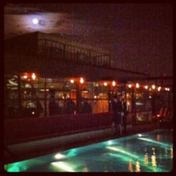 The moon shining over the rooftop pool