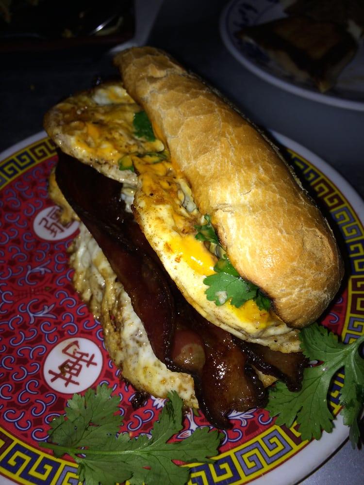 ... MA, United States. Fried Egg Banh Mi with Sweet Soy Glazed Bacon ($6