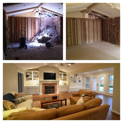 Before And After Of Living Room During Construction And