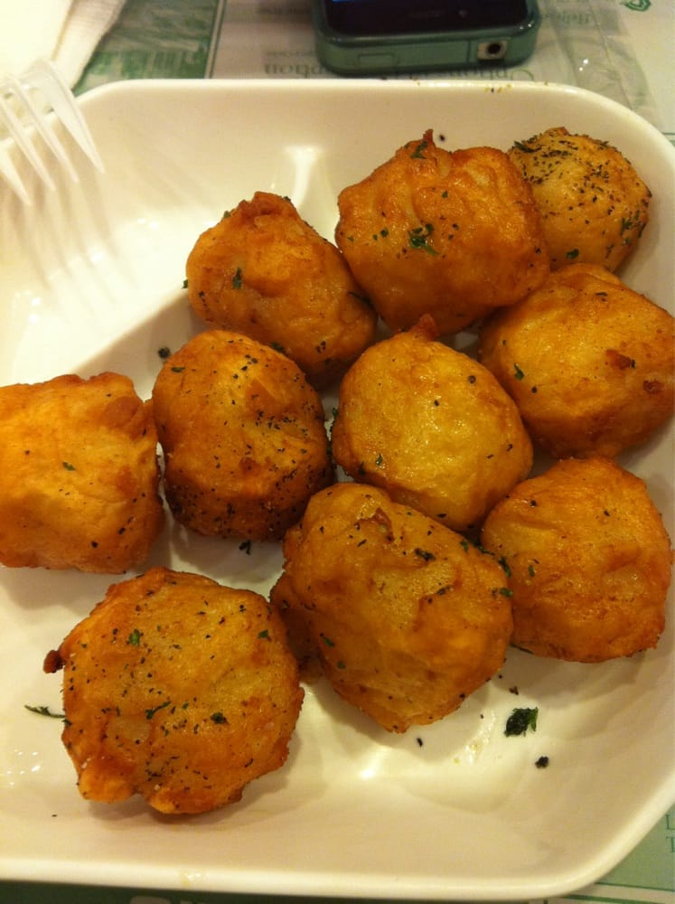 Deep fried fish balls inside have cod roe yelp for Fish ball with roe