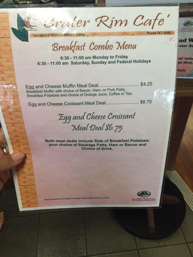 Crater Rim Cafe Menu