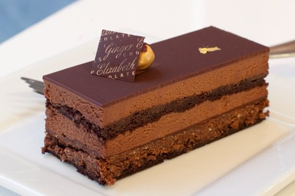 gianduja cake: chocolate mousse, chocolate biscuit, crunchy hazelnut ...