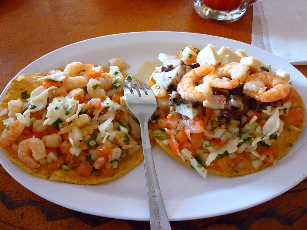 ... Beach, CA, United States. shrimp & crab tostada and a Mixta tostada