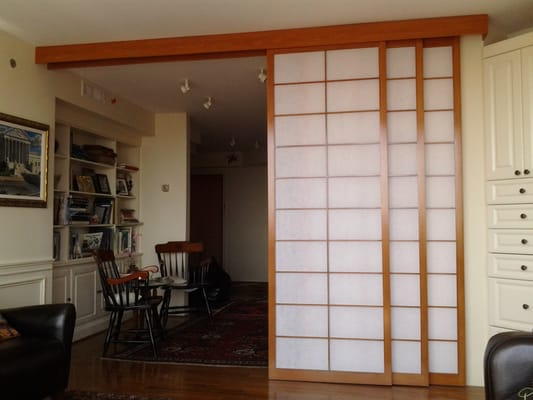 Sliding room divider shoji screens shown open yelp for Sliding panel room divider