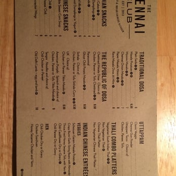 The Chennai Club - New menu w/ new name. - San Mateo, CA, United States