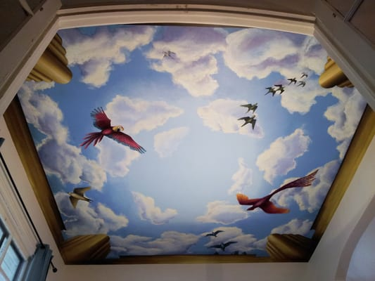 Sky mural with birds on ceiling in chicago il yelp for Ceiling mural sky