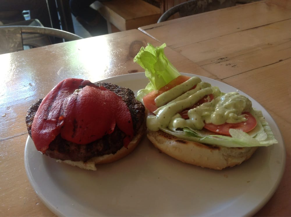 Burger of the Day, roasted red peppers with jalape�o Aiolio sauce ...