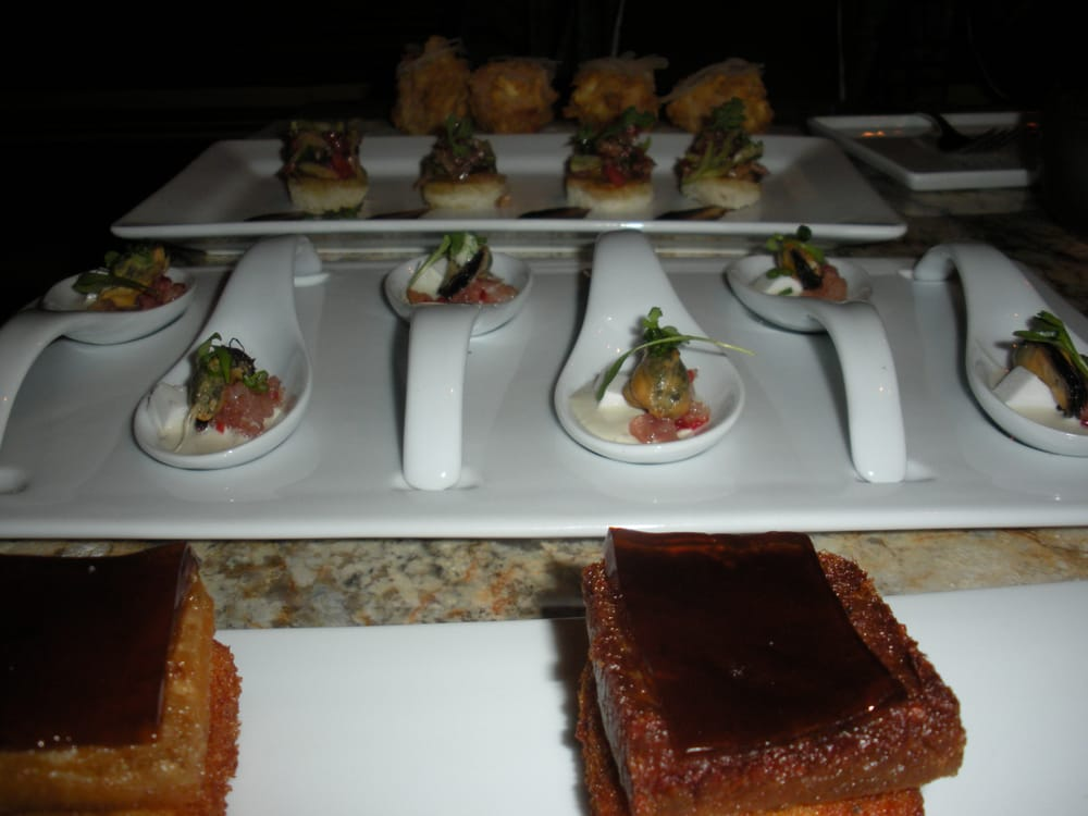 Vu Restaurant - Pork belly (w/ root beer jello and crispy grits); Thai ...