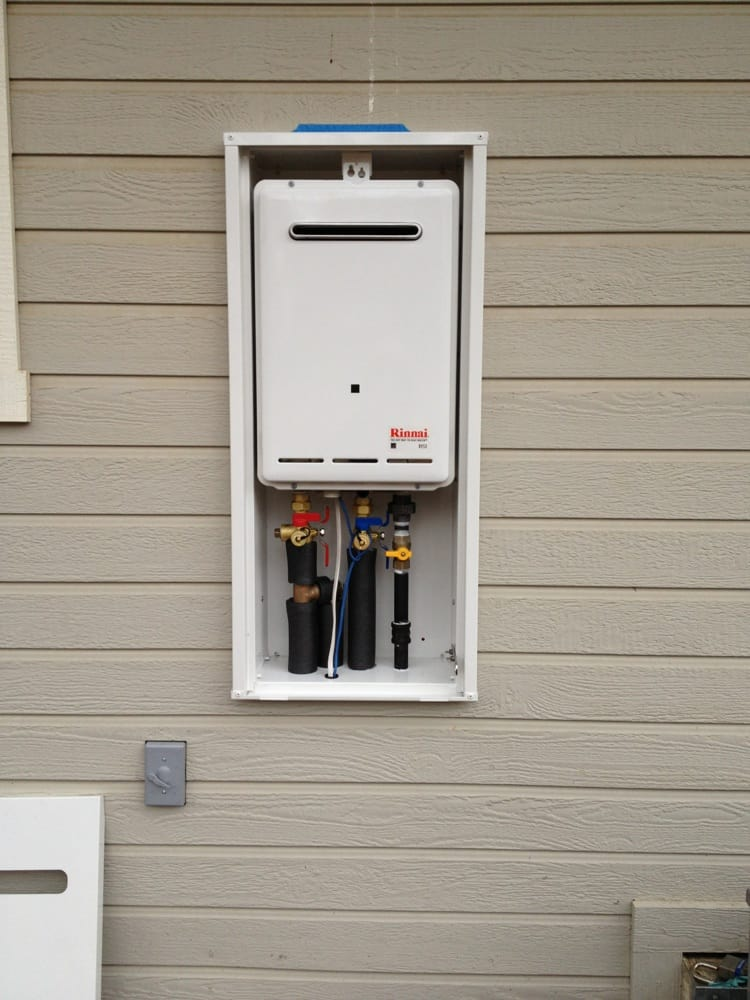A Rinnai Tankless Water Heater In A Recessed Box Yelp