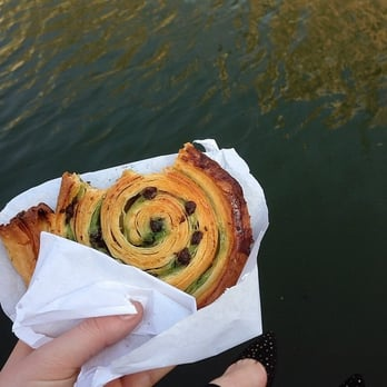 chocolate pistachio escargot by the Canal Saint-Martin