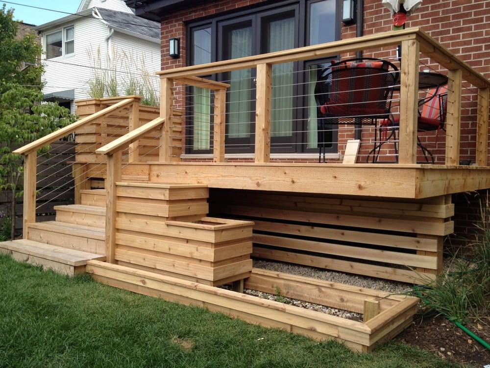 Custom Cedar Deck W Cable Railings Yelp