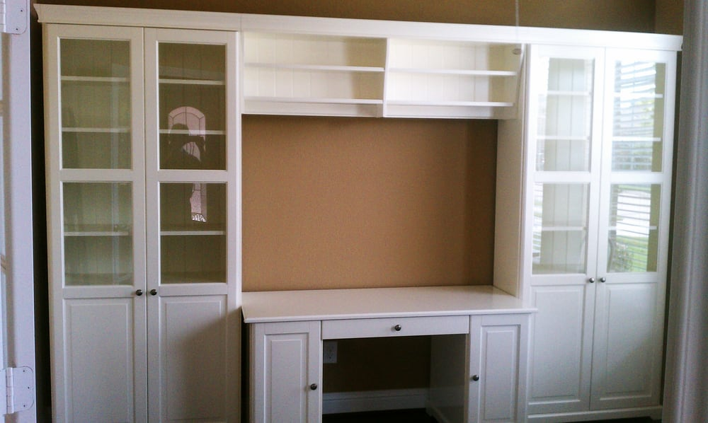 Ikea Liatorp Bookcases With Glass Doors Bridge And Desk