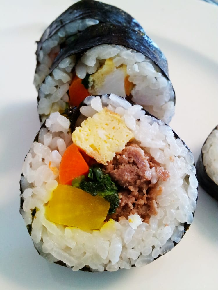 ... Beef Gimbap/Kimbap ($3, tax-included): Kimchi, ground beef, fried egg