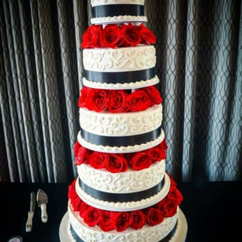 Patty's Cakes and Desserts - Fullerton, CA, United States. Our beautiful wedding cake. Red velvet with fudge.