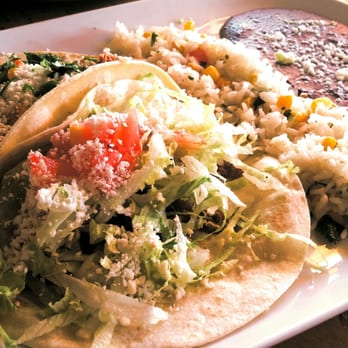 ... beef picadillo taco with cilantro-lime rice and refried black beans