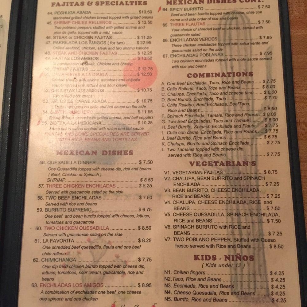 Los Amigos Mexican Restaurant Birmingham Al Menu
