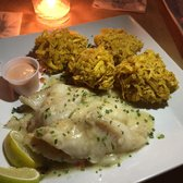 Waiter's Bar & Grill - San Juan, Puerto Rico, Puerto Rico. Grouper with arasomething (fried spider web plantains)