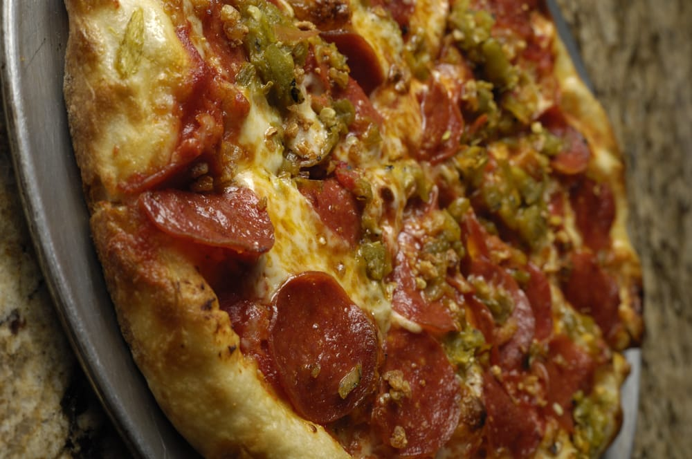 ... New Mexico Pizza, with Hatch Green Chile, Pepperoni and Garlic Crunch