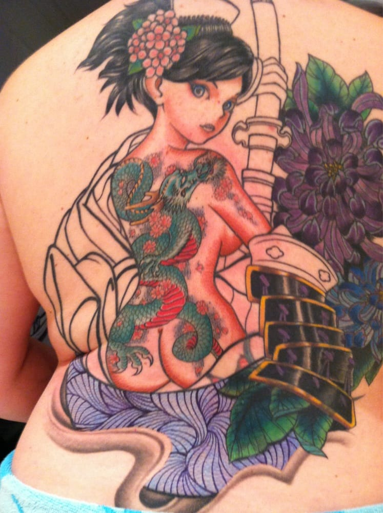 In progress partial cover up and still healing anime for Tattoo convention los angeles