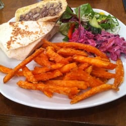 Bean burger, sweet potato fries, spicy slaw and salad