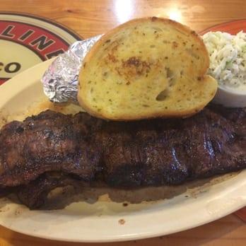 Shorty's Bar-B-Q - BBQ Skirt Steak with Garlic Bread and Baked Potato ...