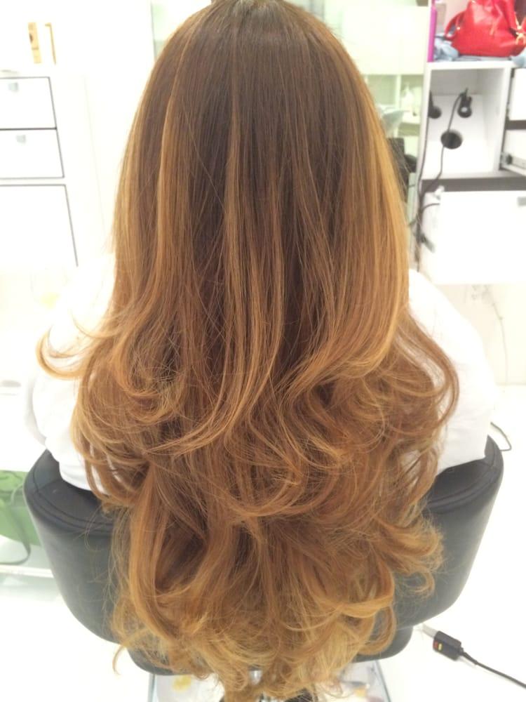 Balayage Brown And Caramel Highlights Ringlets   Dark Brown Hairs