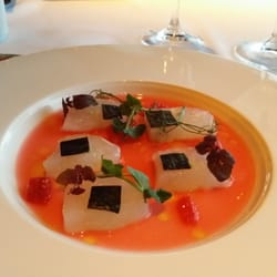 Canlis fluke crudo with rhubarb blood orange and nori for Canlic com