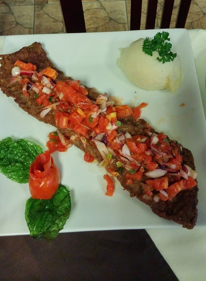 ... Skirt Steak Milanese w/ Pico de Gallo Topping and mashed potatoes