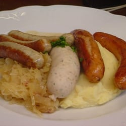 Sausage Parade with mached potatoes and sauerkraut.