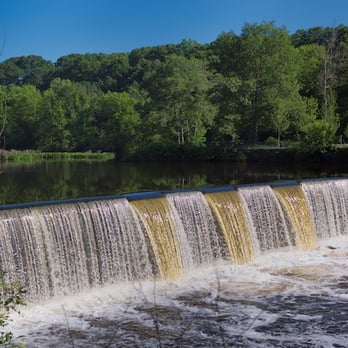 Blackstone River Bikeway - Cumberland, RI, United States. Waterfall in ...