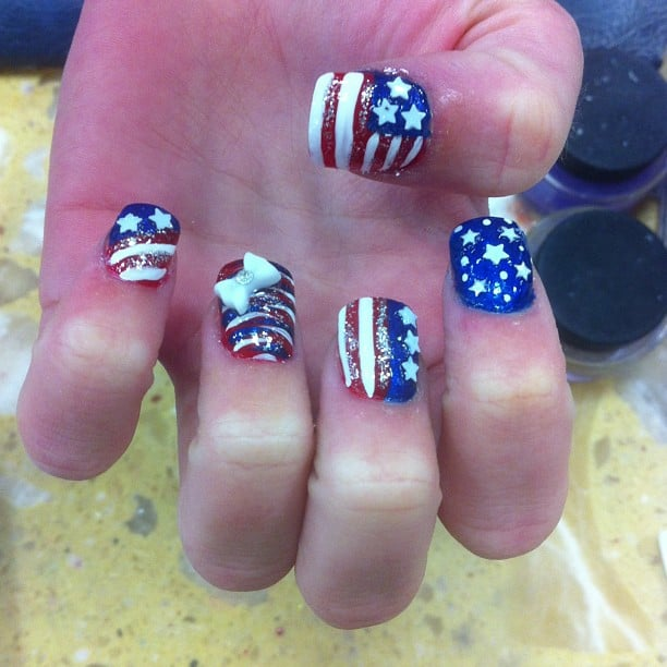Art Nails - Ultra patriotic nails done for July 4th! Follow us on