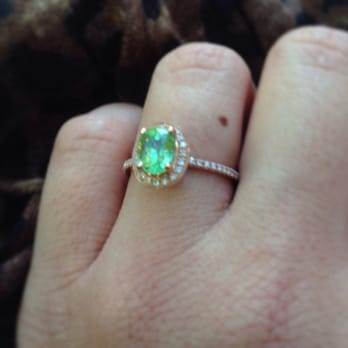 California Girl Jewelry - San Francisco, CA, United States. Rare tsavorite-diamond-rose gold ring...I'm in love!