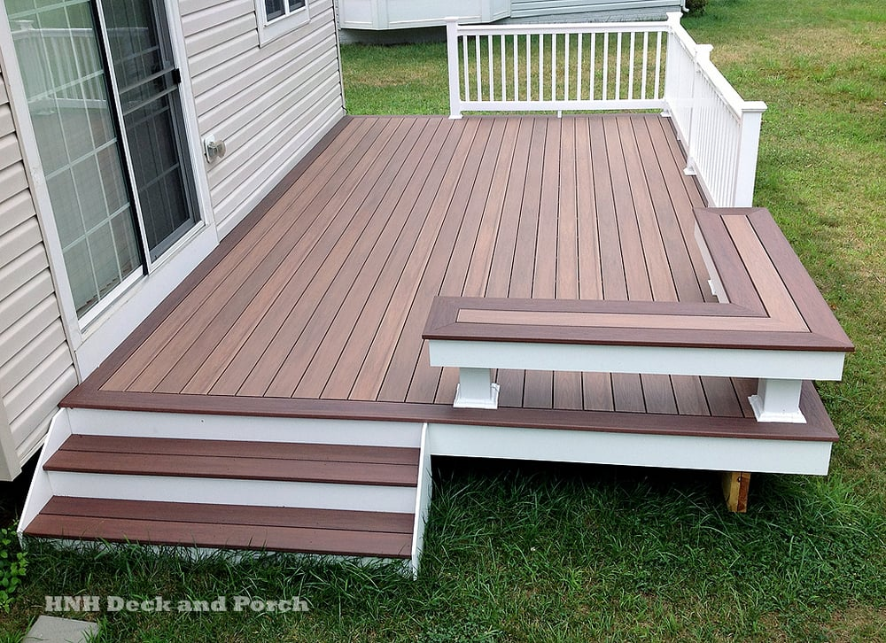 Vinyl patio deck using wolf pvc decking with amberwood - Vinyl deck tiles ...