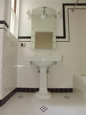 Tile supplied by latch tile and arranged to replicate 1940 for Bathroom designs 1940s