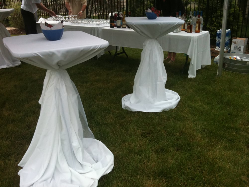 Highboy Cocktail Tables With 120 Quot Round White Linens Yelp