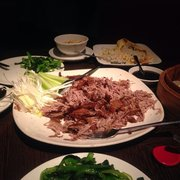 Half crispy duck, delicious with kai-lan in oyster sauce, egg fried rice