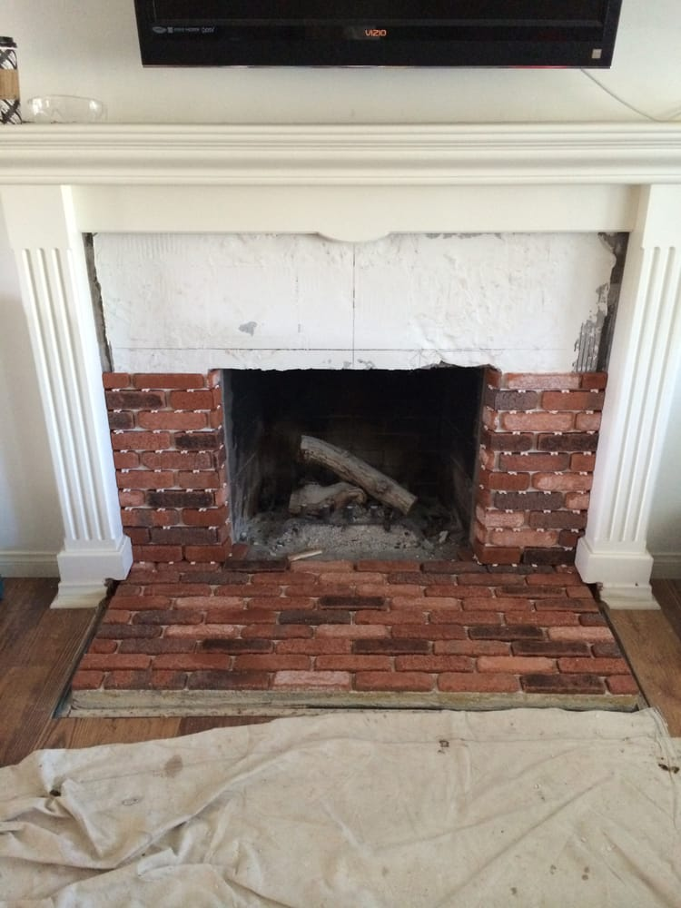 Brick veneer fireplace remodel | Yelp