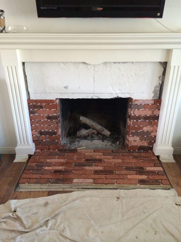 brick veneer fireplace remodel yelp