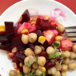 Beet and apple salad(above), chicken pea…
