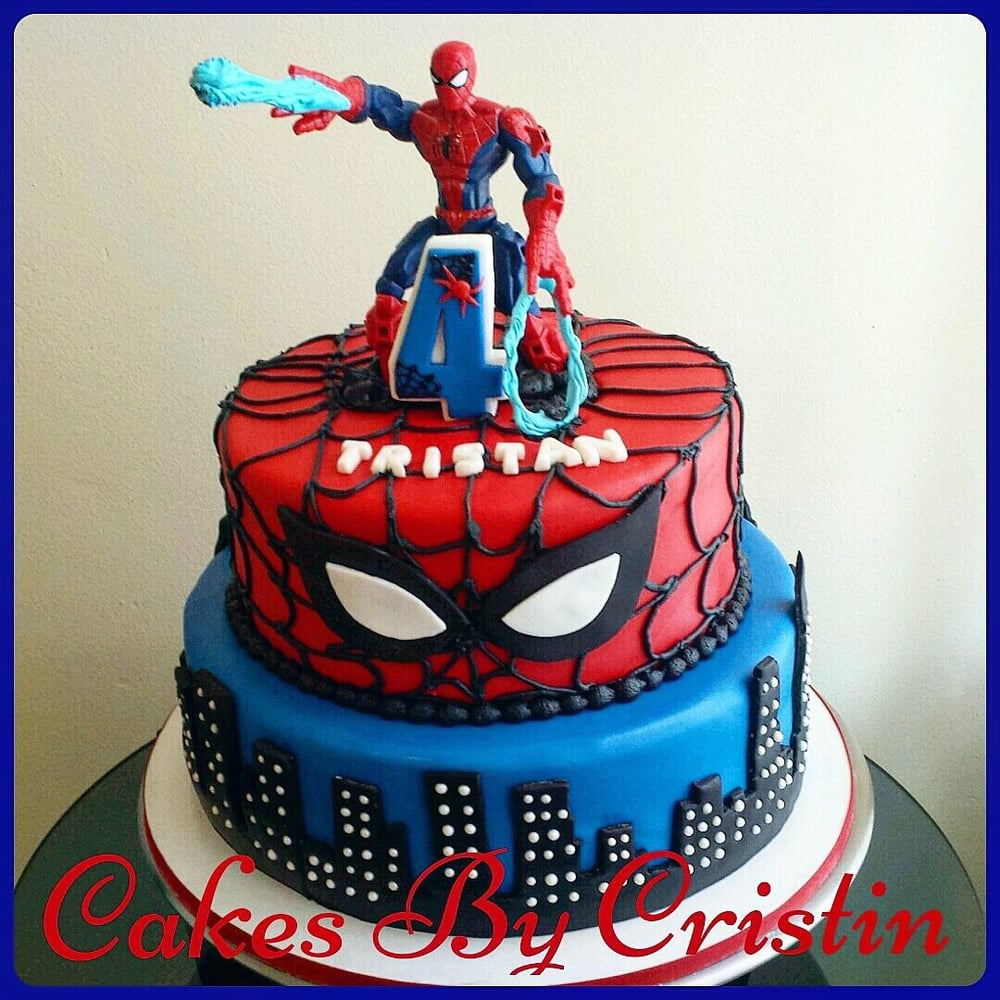 Birthday Cake Designs Spiderman : Strawberry Spiderman cake for 4th birthday. Yelp