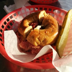 Siegel's Bagels - Vancouver, BC, Canada. Smoked meat sandwich on a sun-dried tomato bagel